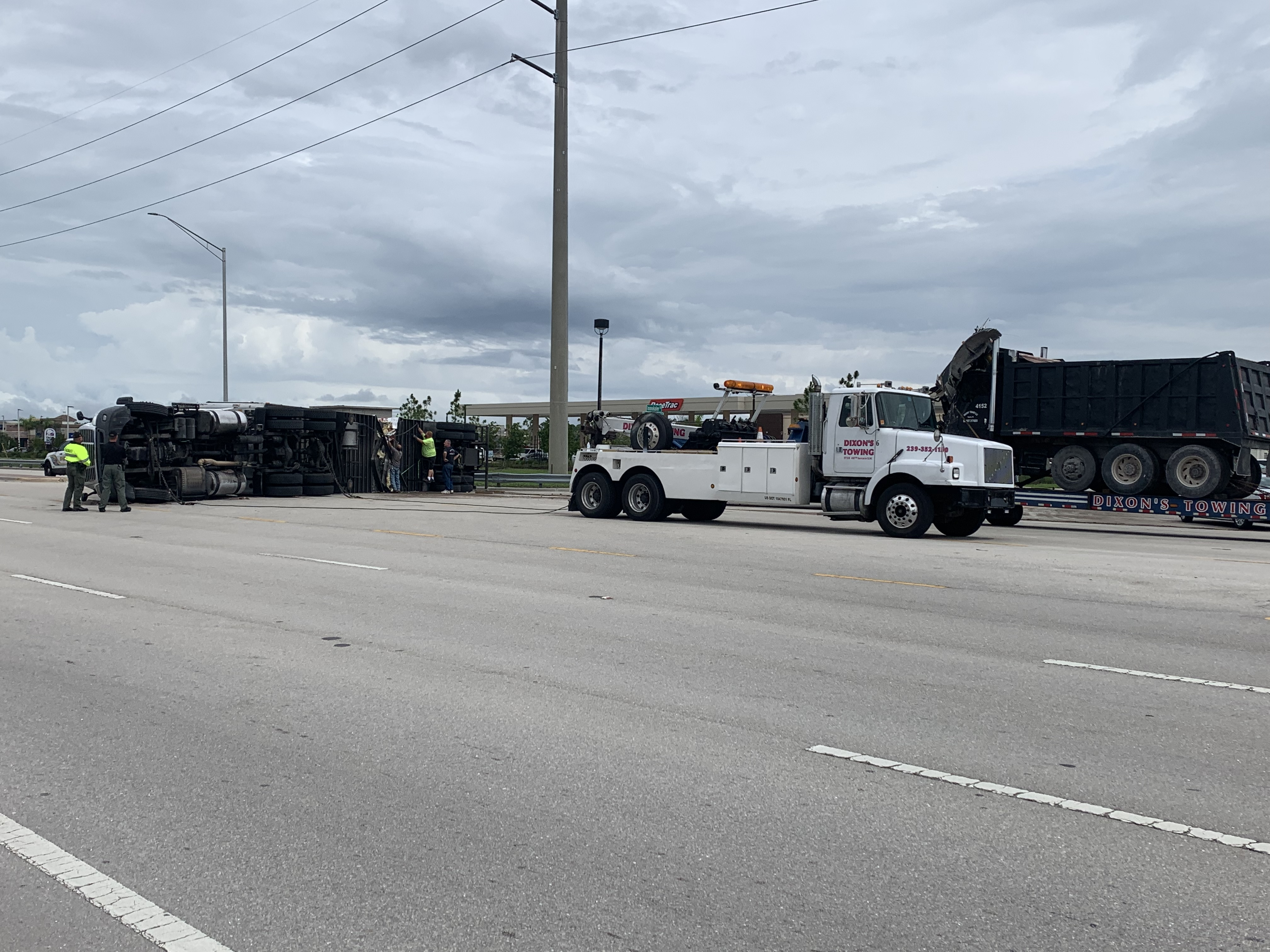 Semitruck rollover crash closed westbound Immokalee Road at
