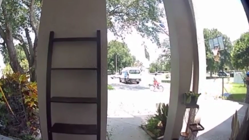 Amazon delivery driver suspected of taking girls bicycle. (Credit: CBS Miami)