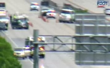 Blurry photo showing the scene of the crash on Sunday afternoon. (Credit: FDOT)