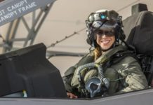 Capt. Anneliese Satz conducts pre-flight checks prior to a training flight aboard Marine Corps Air Station Beaufort on March 11. (Credit: U.S. Marine Corps)
