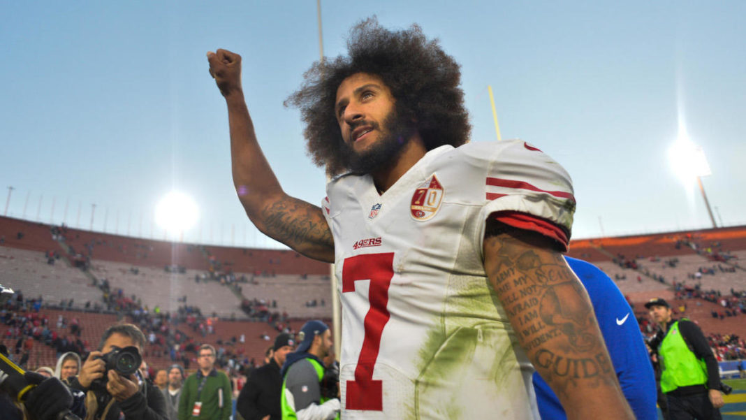 Colin Kaepernick while playing for the San Francisco 49ers. (Credit: CBS Sports)