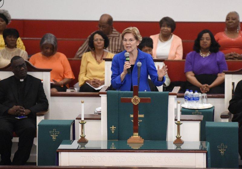 Democratic presidential hopeful Elizabeth Warren addresses congregants at Reid Chapel AME Church on Sunday, Aug. 18, 2019, in Columbia, S.C. (AP Photo/Meg Kinnard)
