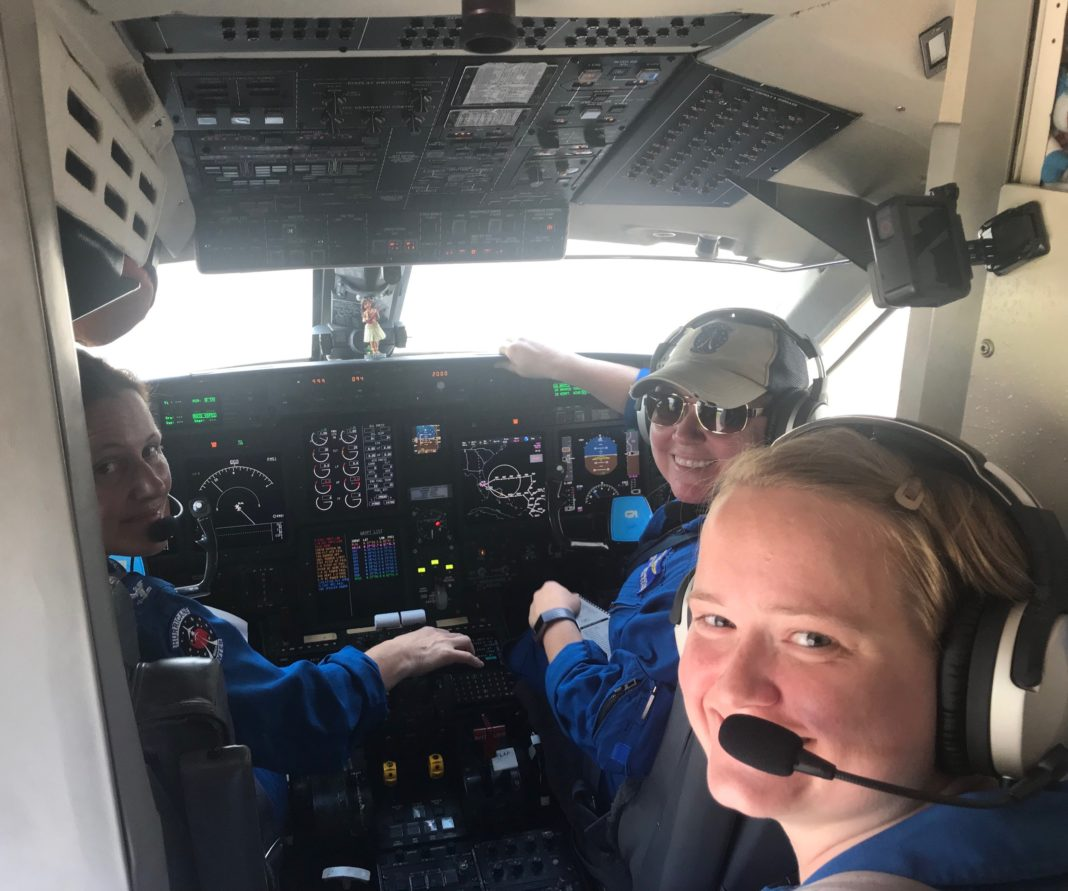 NOAA49 prepares for a Hurricane Dorian reconnaissance mission with the first all female three-pilot flight crew (NOAA Aircraft Operations Center)