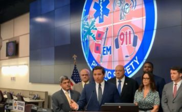 Florida Gov. Ron DeSantis makes an announcement related to recovery costs associated with Hurricane Irma on Monday. (Credit: WINK News)