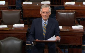 FILE: In this image from Senate Television, Senate Majority Leader Mitch McConnell of Ky., speaks on the floor of the U.S. Senate, Monday, Oct. 1, 2018, on Capitol Hill in Washington. (Senate Television via AP/FILE)