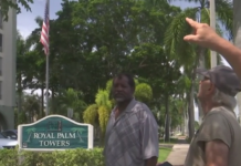 Senior points towards the Royal Palm Towers building. (Credit: WINK News)