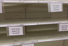 Sign asking buyers to follow a quantity limit on certain supplies. (Credit: WINK News)