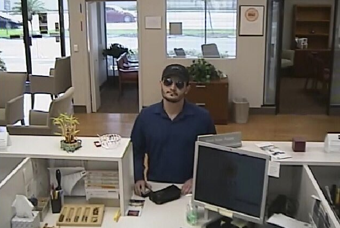 Suspect in the bank robbery. (Credit: SWFL Crime Stoppers)