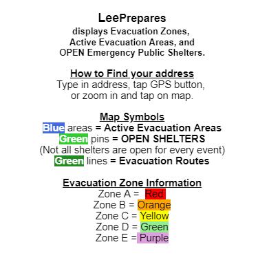 Lee County evacuation zone map color key (Lee Prepares)