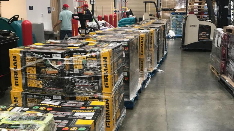 All 100 of these generators were purchased in Florida and are being shipped to the Bahamas. (Alec Sprague via CNN)