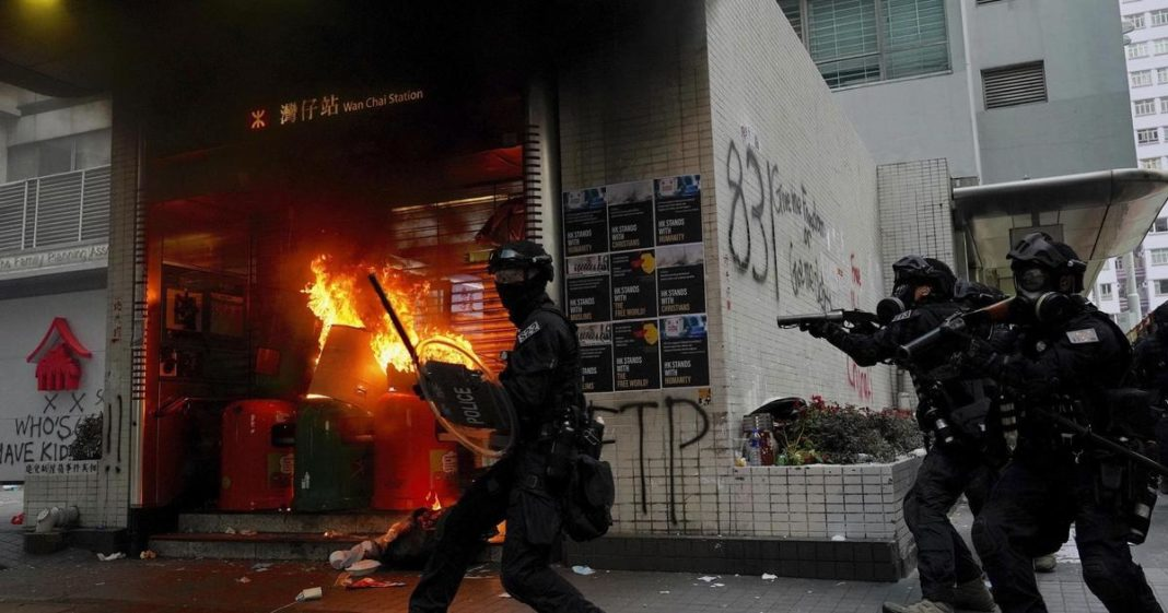Clashes flare in Hong Kong ahead of anniversary of communist rule in China. (Credit: CBS News)