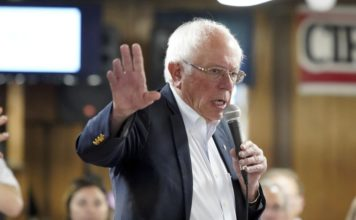 Democratic presidential candidate Sen. Bernie Sanders, I-Vt speaks during a campaign stop at the Circle 9 Ranch Campground Bingo Hall, Tuesday, Sept. 3, 2019, in Epsom, N.H. (AP Photo/Mary Schwalm)