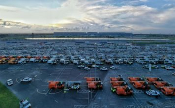 FPL and partners have lined up their trucks at the Daytona International Speedway in preparation for response to Hurricane Dorian impacts. (FPL)