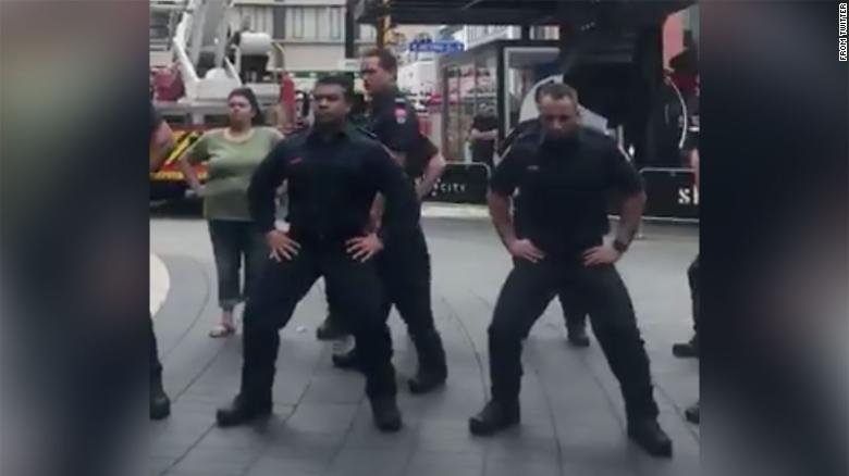 Firefighters in New Zealand performed a hair-raising, powerful haka under Auckland's Sky Tower on Wednesday. (Credit: CNN)