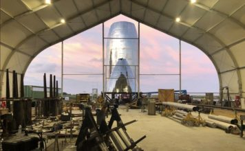 """Musk tweeted an image of the new Starship prototype with the caption """"Droid Junkyard, Tatooine,"""" a joke about the test site's resemblance to a fictional Star Wars location. (Credit: Elon Musk/Twitter)"""