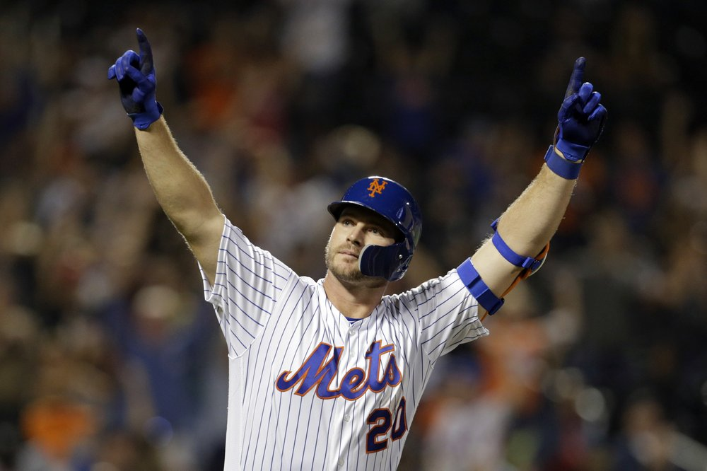 New York Mets' Pete Alonso reacts after hitting his 53rd home run of the season during the third inning of a baseball game against the Atlanta Braves, Saturday, Sept. 28, 2019, in New York. (AP Photo/Adam Hunger)