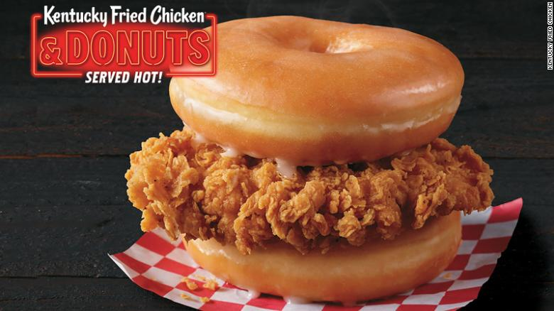 New combination of fried chicken and glazed doughnuts at KFC.