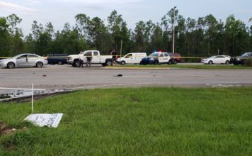 Scene of a hit-and-run crash Wednesday afternoon. (Credit: WINK News)
