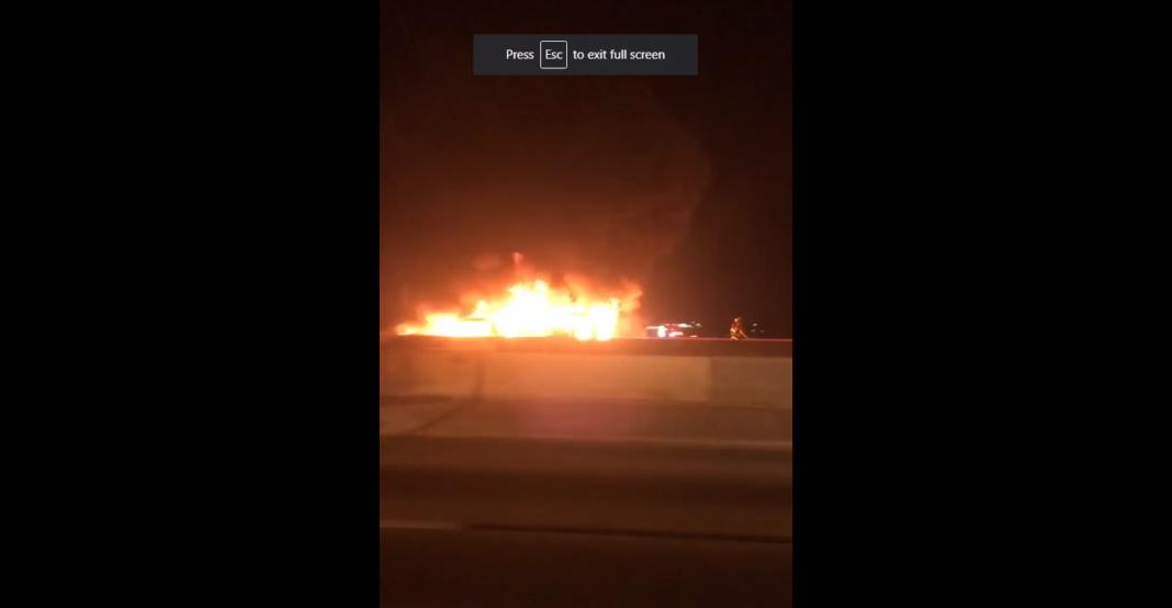 Screenshot of the car fire. (Credit: WINK News)