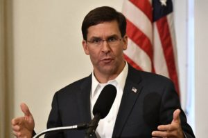 FILE - In this Friday, Oct. 4, 2019 file photo, Defense Secretary Mark Esper speaks to a gathering of soldiers at the University Club at the University of Louisville in Louisville, Ky. (AP Photo/Timothy D. Easley, File)