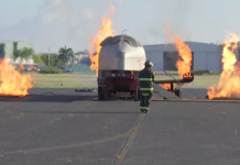 First responder in an emergency training exercise at Naples Airport. (Credit: WINK News)