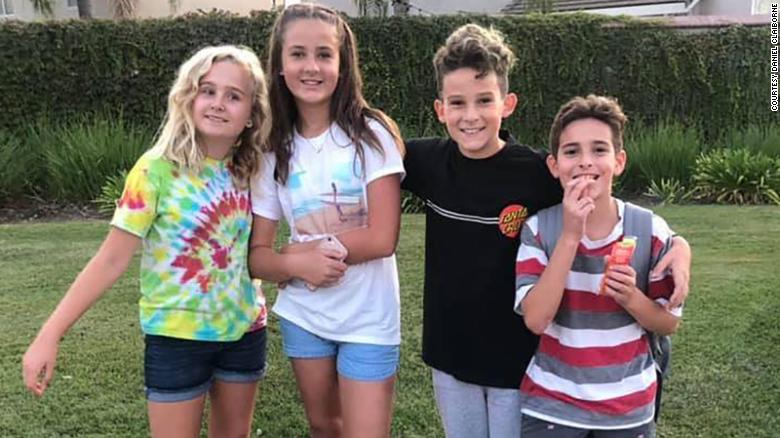 From left to right: Makenna Rogers, Hope Claiborne, Kashton Claiborne and Logan Hultman. (Credit: CNN)