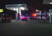 Scene from the Marathon gas station Tuesday evening. (Credit: WINK News)