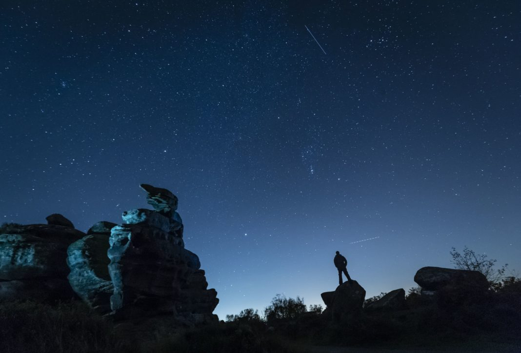 The Orionid meteor shower over Brimham Rocks in Yorkshire, England. (Credit: CNN)