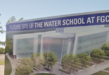 Board announcing the future site of The Water School at Florida Gulf Coast University. (Credit: WINK News)