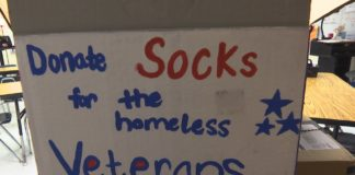 Cape Coral High School Anchor Club collects socks for veterans. (Credit: WINK News)
