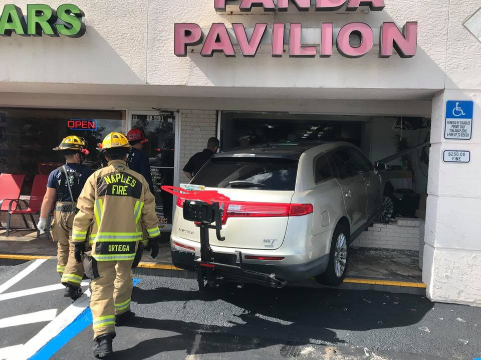 Car smashes into Panda Pavillion Chinese Restaurant on Thursday afternoon. (Credit: Naples Fire-Rescue Dept.)