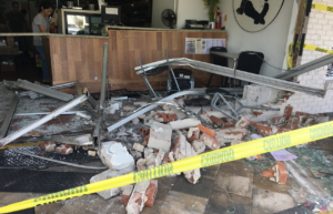 Car smashes into Panda Pavillion Chinese Restaurant on Thursday afternoon. (Credit: WINK News)