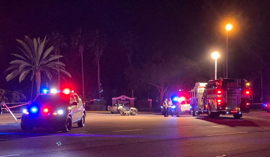 Crash scene involving a motorcycle and a car on Tuesday evening. (Credit: WINK News)