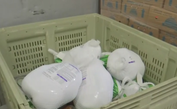 Donations of turkeys at the Harry Chapin Food Bank of Southwest Florida. (Credit: WINK News)