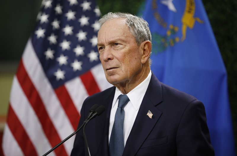 FILE - In this Feb. 26, 2019, file photo, former New York City Mayor Michael Bloomberg speaks at a news conference at a gun control advocacy event in Las Vegas. Tennessee's top election officials say Bloomberg has requested a petition that would require securing 2,500 signatures from registered voters in less than a month if he wants to qualify for the state's Democratic presidential primary ballot. The secretary of state's office confirmed Wednesday, Nov. 13, that Bloomberg requested the ballot petition earlier this week. (AP Photo/John Locher, File)