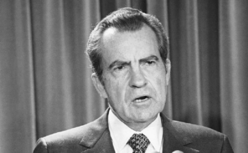 FILE - In this April 17, 1973 file photo, President Richard Nixon speaks during White House news briefing in Washington. (AP Photo/Henry Burroughs. File)