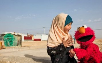 """Sesame Workshop and the International Rescue Committee have joined forces to help Syrian refugee children through educational learning programs, including the launch of a new """"Sesame Street"""" show in Arabic. (Credit: Ryan Heffernan/Sesame Workshop)"""
