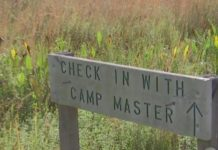 Sign showing the entrance to the camp. (Credit: WINK News)
