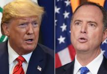 President Donald Trump, left, and Rep. Adam Schiff, right. (Credit: CNN)