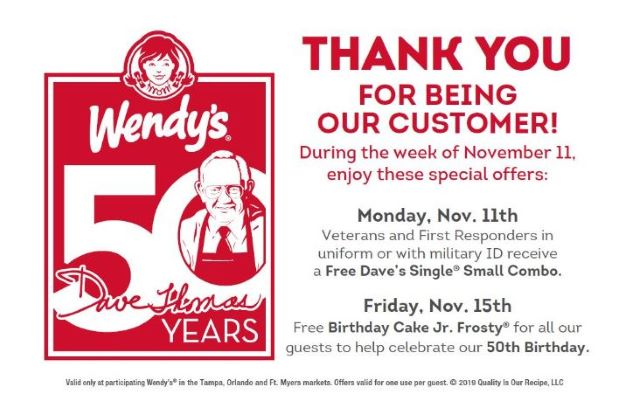 FREE Dave's Single Small Combo at Wendy's for military veterans and first responders