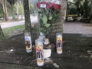 A memorial for Juan is being held at the bench where he was killed in early December. (Credit: WINK News)