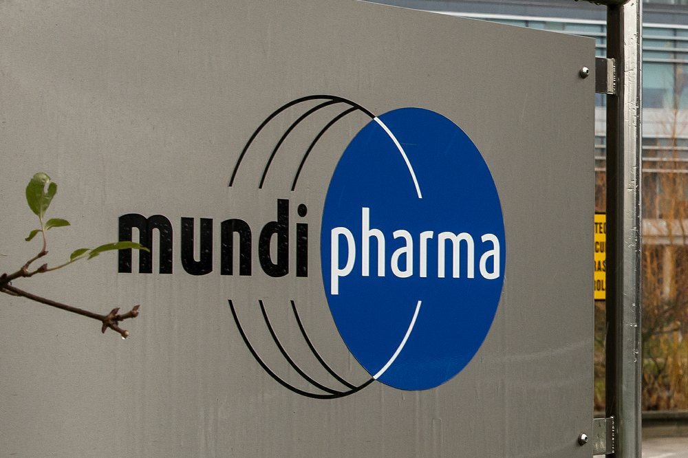 This Dec. 12, 2019, photo shows a sign at the Mundipharma International headquarters at Cambridge Science Park in England. Mundipharma is the international affiliate of Purdue Pharma, the maker of the blockbuster painkiller OxyContin. Mundipharma is now marketing Nyxoid, a new brand of naloxone, an opioid overdose reversal medication. (AP Photo/Leila Coker)