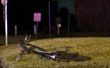 Photo showing the bicycle hit by a vehicle on Tuesday afternoon in Naples. (Credit: WINK News)