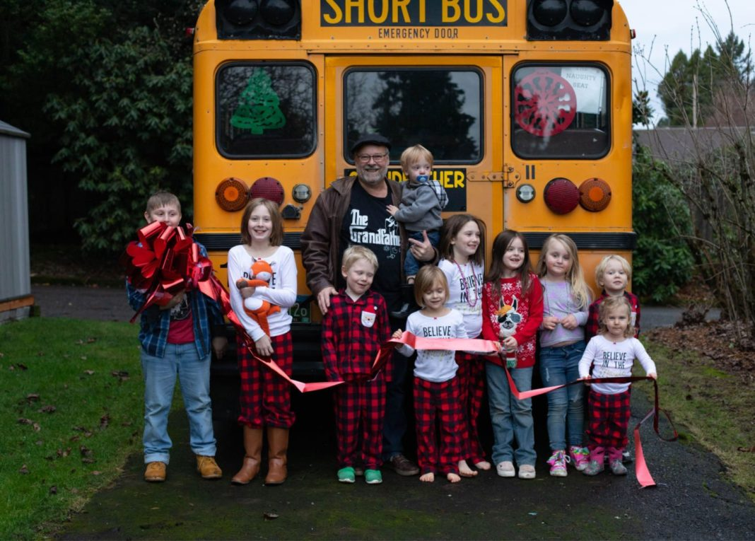 A grandfather in Oregon just bought a small school bus so he can take his 10 grandchildren to school. (Courtesy Amy Hayes)