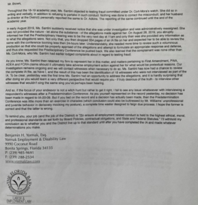 Ben Yormak, the attorney representing a teacher, sent this letter to the School District of Lee County.