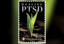 The photo by Mark Laita is meant to symbolize PTSD healing. (Credit: USPS)