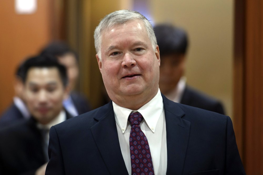 In this Dec. 16, 2019, photo, U.S. Special Representative for North Korea Stephen Biegun arrives for a meeting with South Korea's Vice Foreign Minister Cho Sei-young at the foreign ministry in Seoul, South Korea. Biegun was approved as Secretary of State Mike Pompeo's new deputy, assuring a degree of continuity at the helm of U.S. diplomacy should he resign for a potential Senate bid. (Ed Jones/Pool Photo via AP)