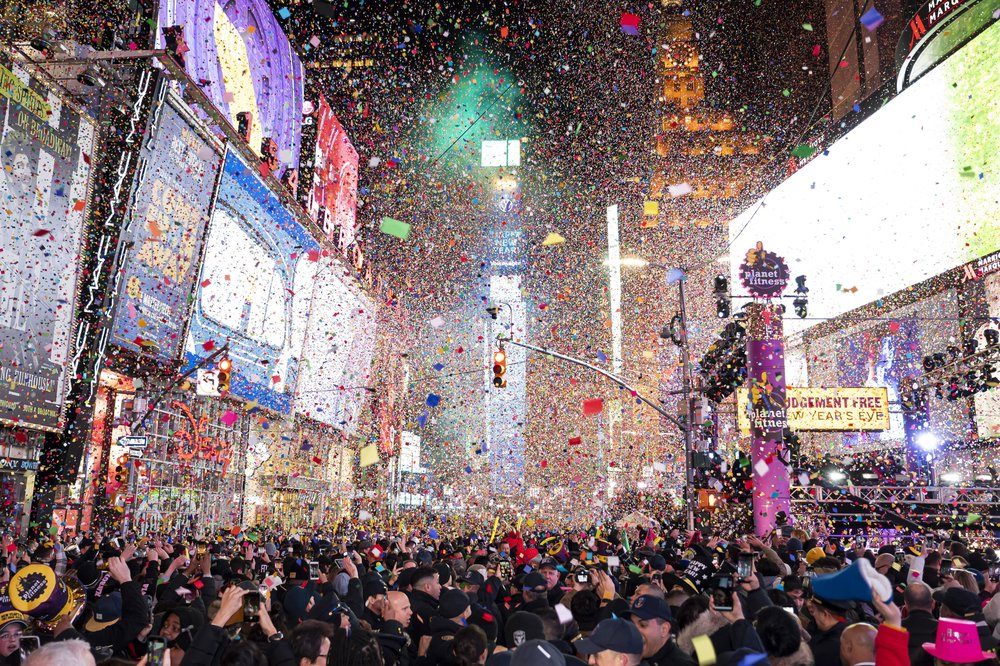 Confetti falls at midnight on the Times Square New Year's Eve celebration, Wednesday, Jan. 1, 2020, in New York. (Photo by Ben Hider/Invision/AP)