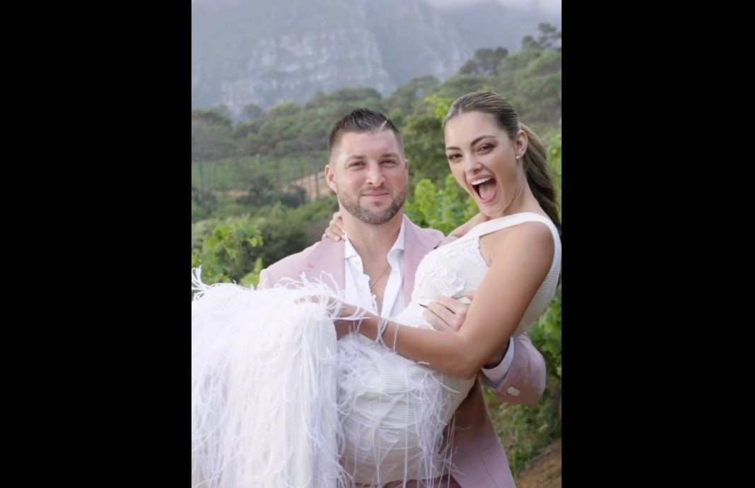 Tim Tebow and his wife exchanged vows in front of about 250 guests at a resort in the bride's home country of South Africa. (Credit: Instagram)