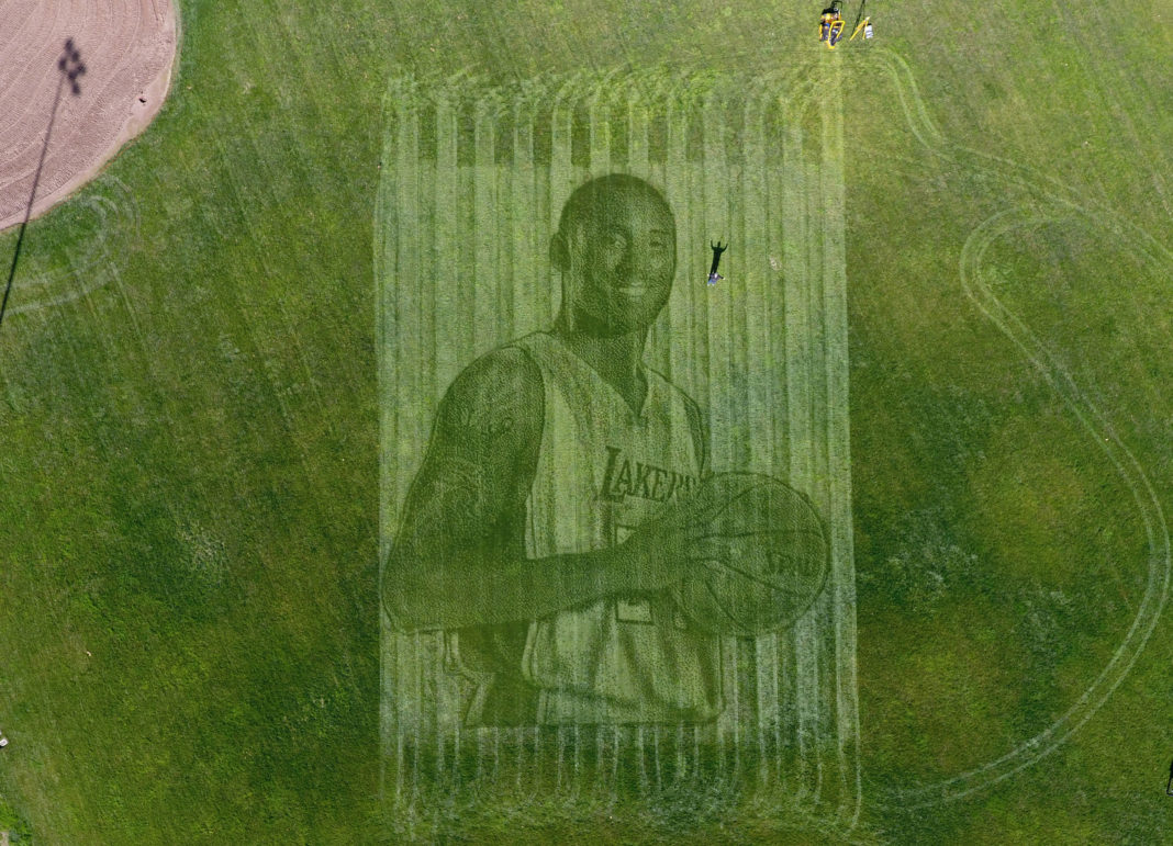 Kelli Pearson and her husband, Pete Davis, created a 115-foot tall mural of Kobe Bryant in a grass field in California. (Courtesy of Kelli Pearson)